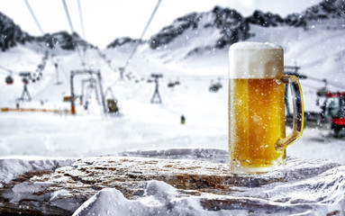 Tuinposter Bier / Cider Cold beer in mountains and free space for your decoration