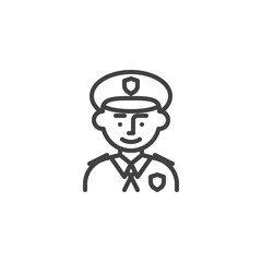Policeman avatar character line icon. linear style sign for mobile concept and web design. Man police officer outline vector icon. Symbol, logo illustration. Pixel perfect vector graphics