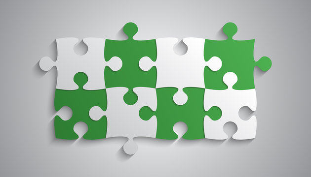 Green Grey Piece Puzzle Rectangle Banner. Puzzle.