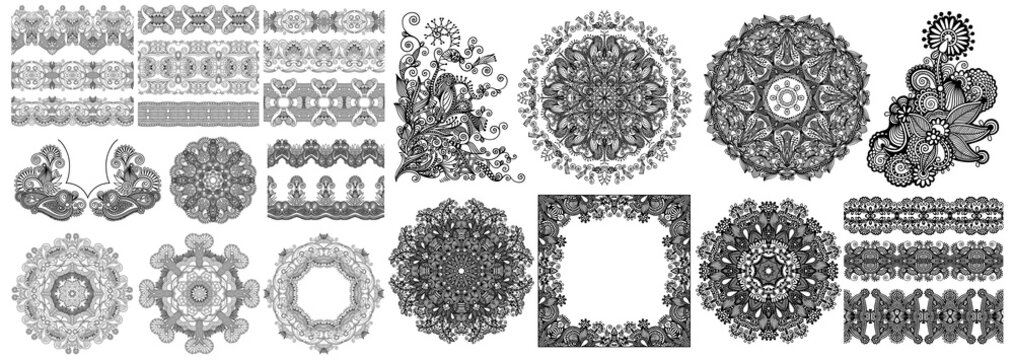 collection of seamless decorative ethnic ornamental floral design