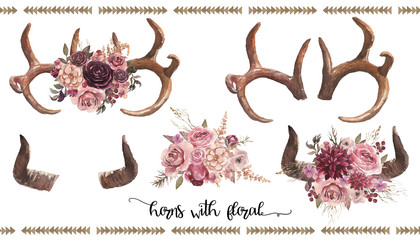 Watercolor boho floral illustration set - bull / cow / deer horns & antlers with flower bouquets for wedding, anniversary, birthday, invitations, tribal native american symbol, bohemian DIY indian