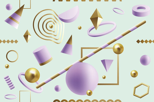 Fun, dynamic seamless pattern with purple and gold 3D geometric shapes floating on a green background