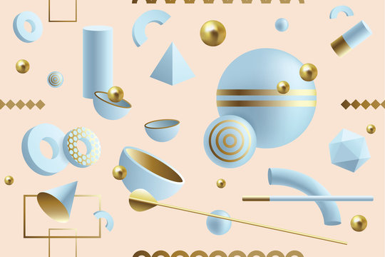 Creative, dynamic 3D geometric seamless pattern with abstract shapes