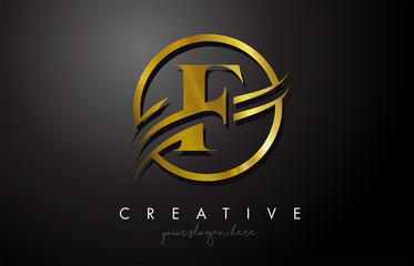 F Golden Letter Logo Design with Circle Swoosh and Gold Metal Texture