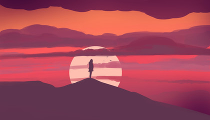 Photo sur cadre textile Grenat The girl stands on the hill and looks at the sunset. Illustration painting