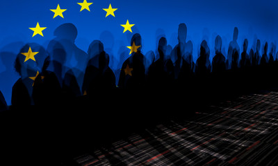 LoLot of people shadows against European flagged screen