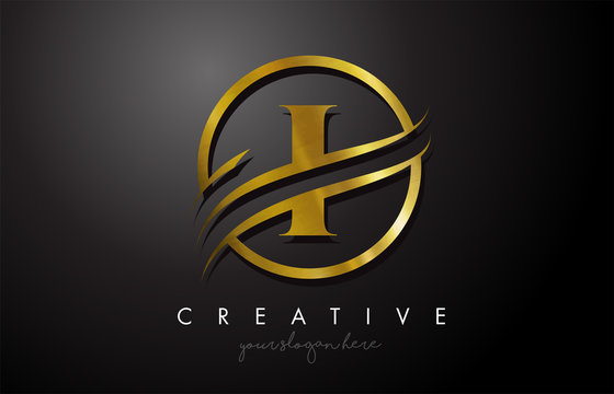 I Golden Letter Logo Design with Circle Swoosh and Gold Metal Texture