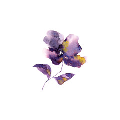 Single purple flower. Watercolor abstract flower. Floral greeting card.