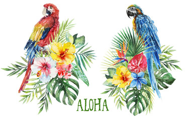 Watercolor tropical floral illustration -green leaves, parrots & flowers, bouquets for wedding stationary, greetings, wallpapers, fashion, backgrounds, textures, DIY, wrappers, postcards, logo, etc