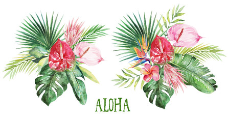 Watercolor tropical floral illustration -green leaves & flowers, bouquets for wedding stationary, greetings, wallpapers, fashion, backgrounds, textures, DIY, wrappers, postcards, logo, etc
