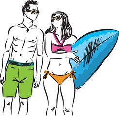 surf couple man and woman vector illustration