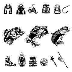 Fishing set. Camping theme. Bass fish. Recreation symbols collection. Equipment for rest. Fishing tools vector illustration.