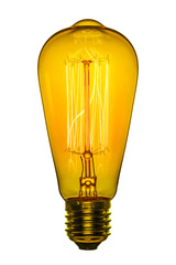 Retro light bulb, Edison style. Isolated object on a white background. Color image.