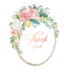 Watercolor floral illustration - wreath / frame with bright peach color, white, pink, vivid flowers, green leaves, for wedding stationary, greetings, wallpapers, fashion, background, texture, wrapping