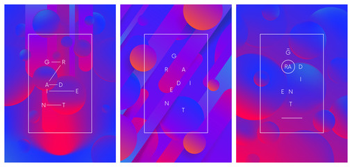 Set of creative trendy gradient compositions, Dynamic colored abstract background, vector illustration