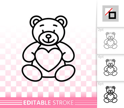 Bear teddy cute toy simple black line vector icon