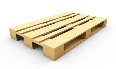 3d render of wooden pallet isolated on a white background