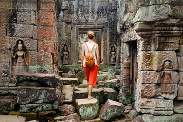 Bayon temple is Khmer ancient temple in complex Angkor Wat, Cambodia