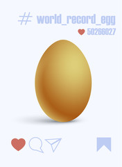 Vector illustration of a cell phone screen with a regular chicken egg in a social network which people put likes