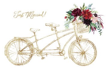 Watercolor hand painted romantic illustration on white background - gold vintage wedding tandem bicycle with basket of flowers. Just Married! Floral bouquet - peonies, anemone, roses, leaves, branches
