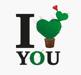I love you. Concept vector illustration. Sign for t-shirt, card valentine day, banner. heart shaped potted cactus