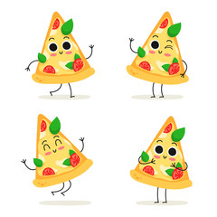 Pizza slice. Fast food character set isolated on white