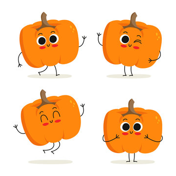 Pumpkin. Cute vegetable character set isolated on white