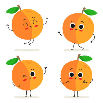 Peach. Cute fruit character set isolated on white