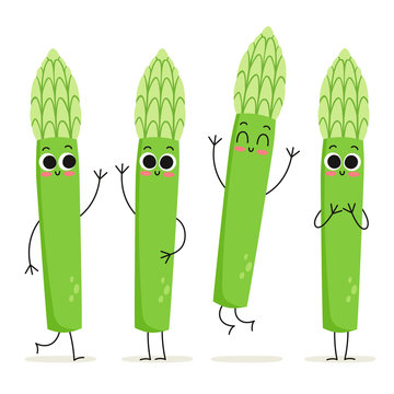 Asparagus. Cute vegetable vector character set isolated on white