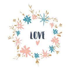 Cute hand drawn boho frame template. Pastel wreath, flowers