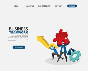 Human resource system, businessman with teamwork concept for business Solution and gold. isometric concept. vector illustration