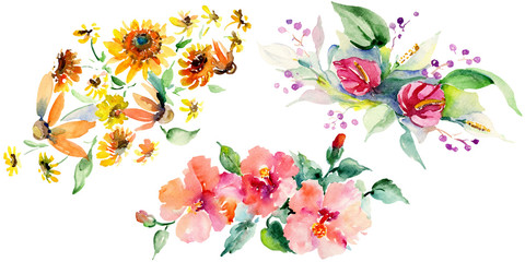 Red, yellow and orange flower bouquets. Watercolor background illustration set. Isolated bouquet illustration element.