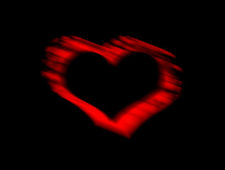 Red Heart  blur on black background for Valentine .