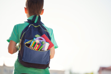 Boy with full school backpack. Little pupil going back to school. Back view