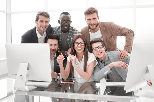 portrait of a successful business team in the workplace