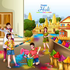 vector illustration of Indian people playing colorful Happy Hoil background for festival of colors in India