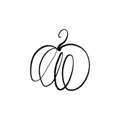 Vector single pumpkin line sketch, hand drawn illustration
