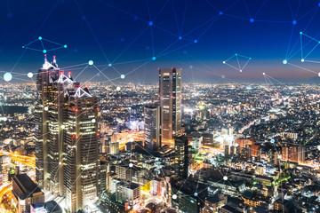ネットワークと都市の夜景