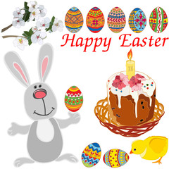 Easter elements set: cute rabbit, chicken, flowering branches, Easter in a wicker basket with a candle