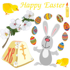 Easter elements set: cute rabbit, chicken, tender blooming branch, candle, painted eggs isolated on white background