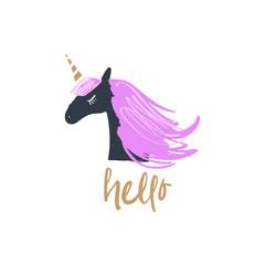 Cute vector illustration of night unicorn head.
