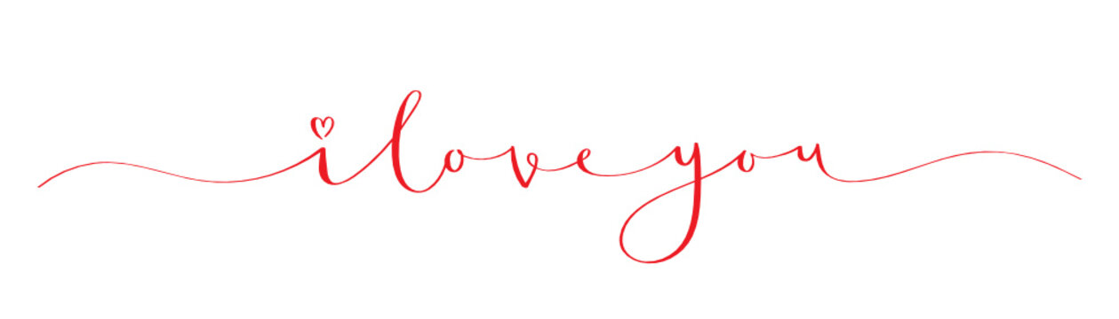 I LOVE YOU brush calligraphy banner with heart