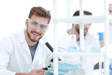 closeup. a scientist in a modern laboratory