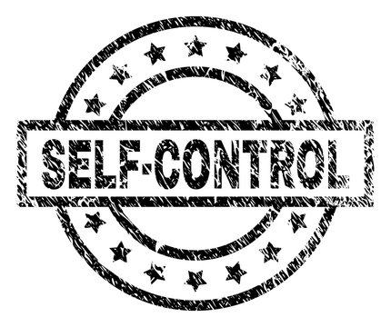 SELF-CONTROL stamp seal watermark with distress style. Designed with rectangle, circles and stars. Black vector rubber print of SELF-CONTROL text with corroded texture.