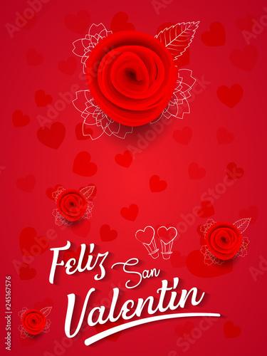 Spanish Happy Valentines Day Greeting Card With Feliz San Valentin