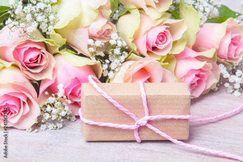 Pink Roses And Gift For Valentines Day Birthday
