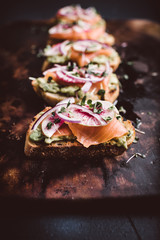 Avocado Toast with Smoke Salmon and Watermelon Radishes