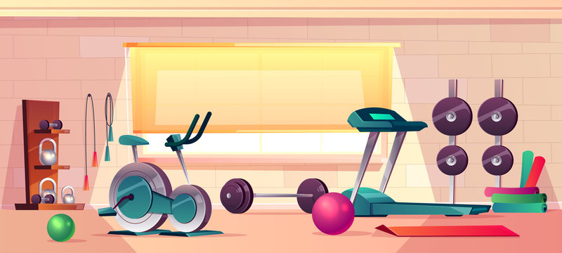 Vector cartoon background of gym with big window. Spacious place with barbells, treadmill and rubber balls. Sport interior with dumbbells and training bike. Athletic, healthy concept.