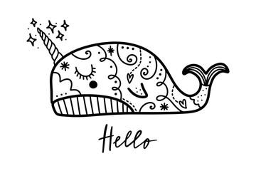 Vector cute little narwhal art. Poster and banner element, children's book illustration, postcard.