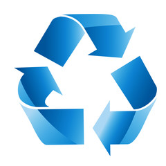 Blue triangular eco recycle icons - vector